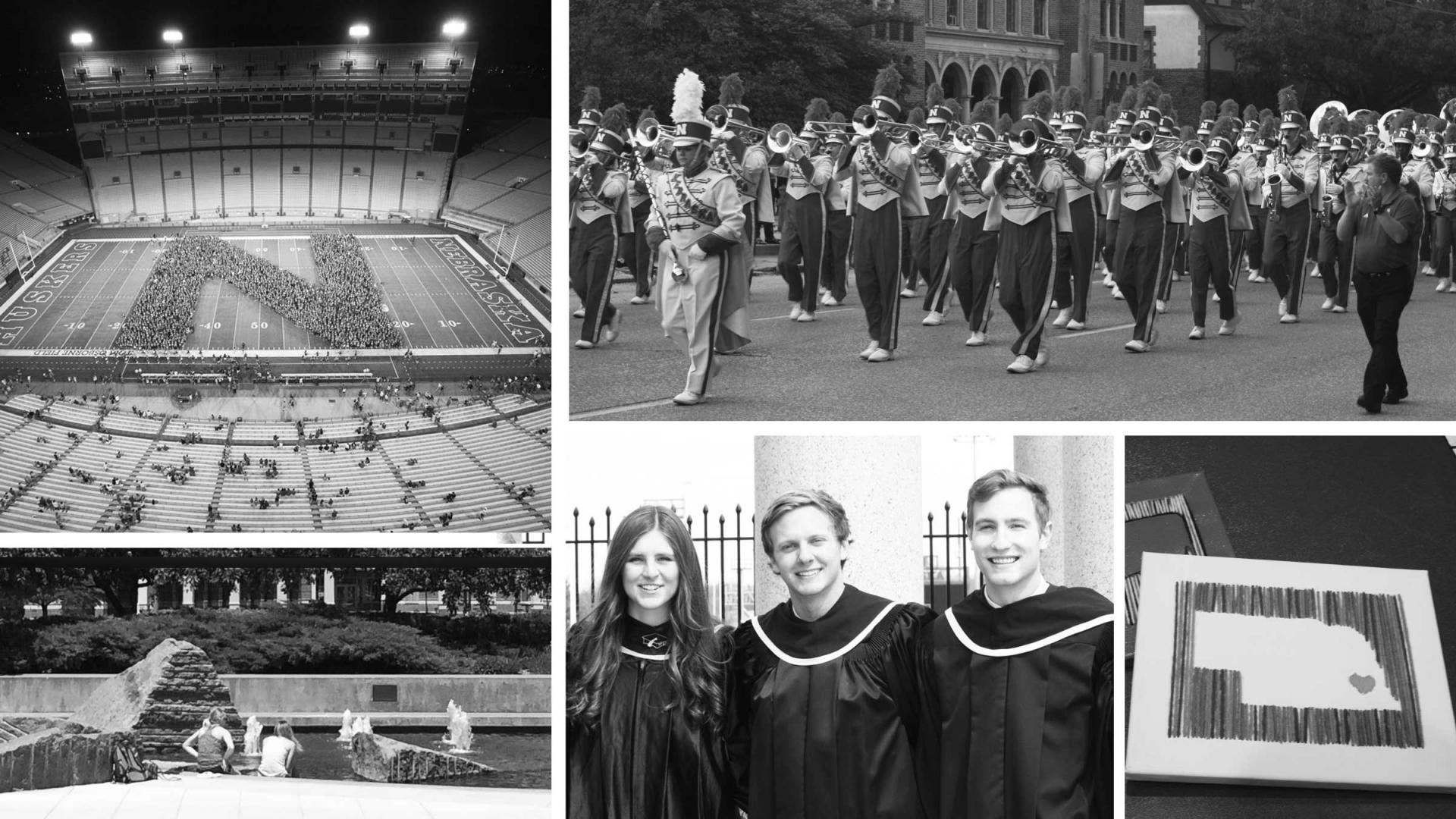 Black and white photo collage of students
