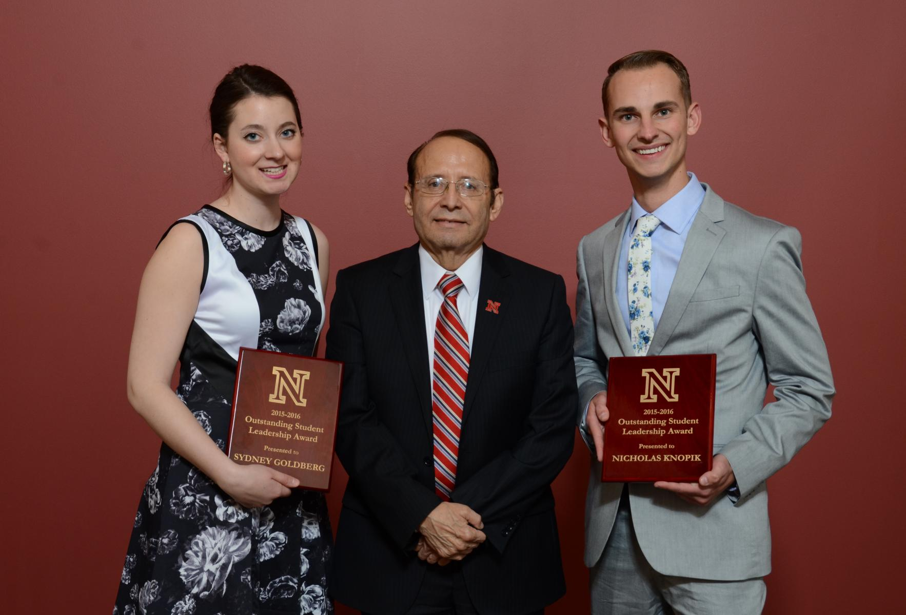 Sydney Goldberg and Nicholas Knopik, recipients of the 2016 Outstanding Student Leadership Award, with Dr. Juan Franco.