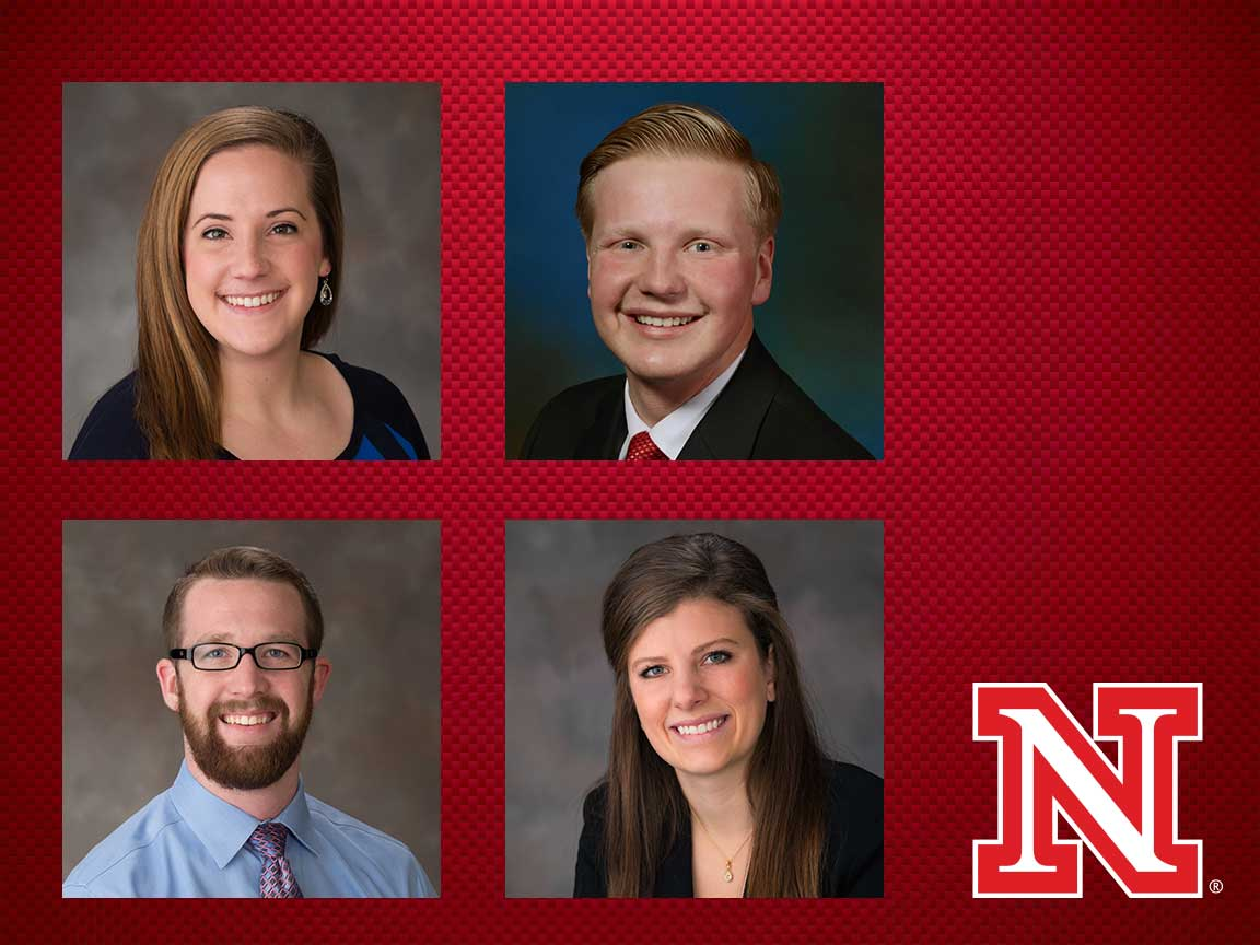 Four UNL students who received the NIRSA Wasson Award.