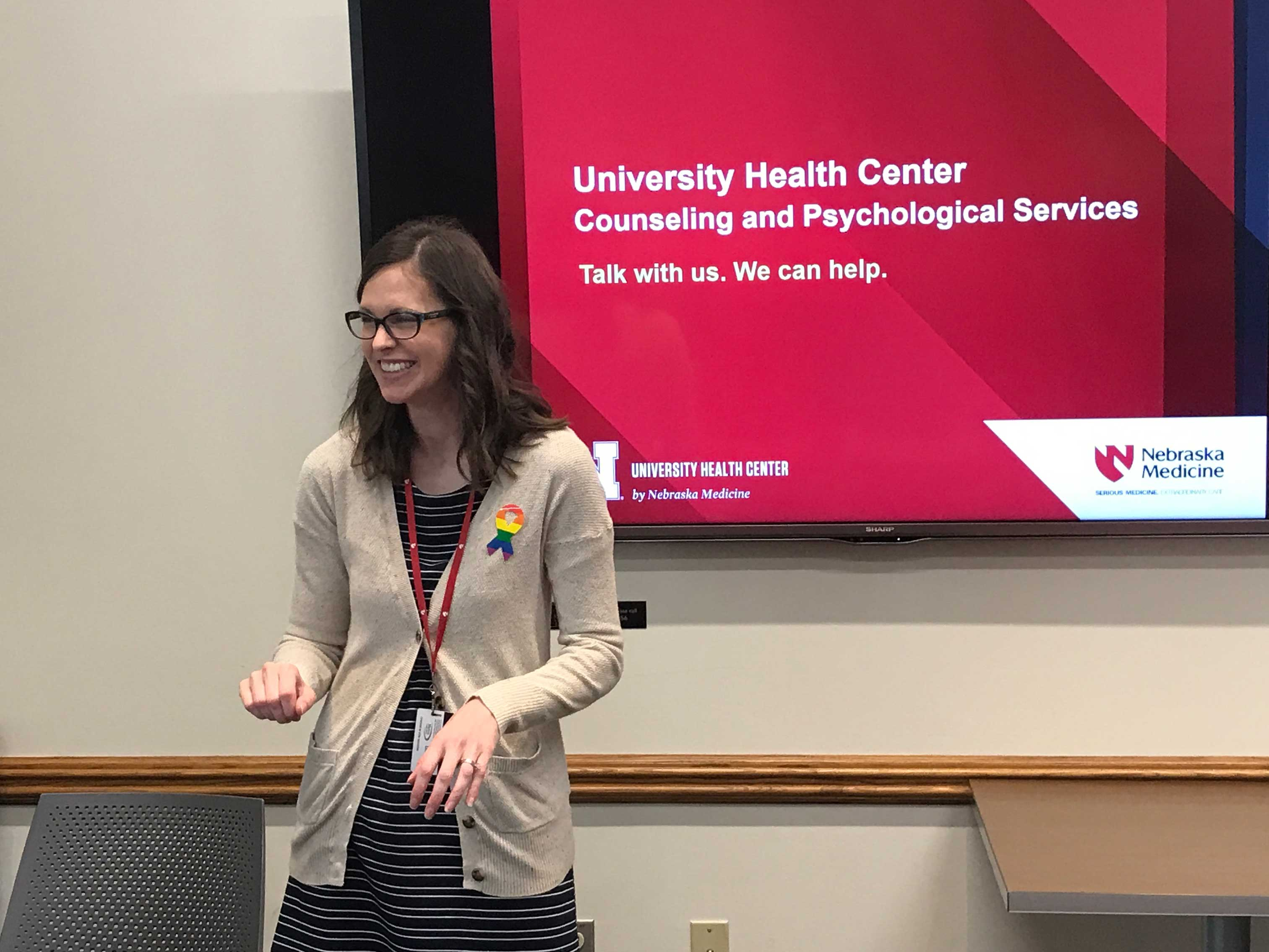 Cynthia Von Seggern, psychologist and group and outreach coordinator with CAPS, gives a presentation explaining counseling services available through the University Health Center managed by Nebraska Medicine.