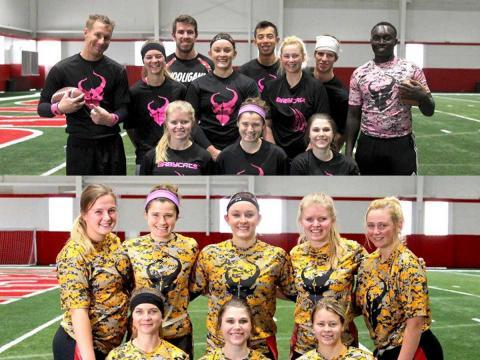 (Top) 'Diablos' co-rec team members; (Lower) 'Huskers' women's team members.