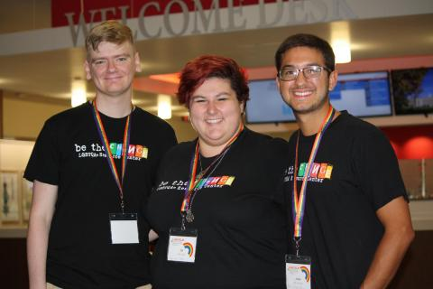 UNL LGBTQA+ Resource Center volunteers helped guide attendees around the Nebraska Union during the day-long institute