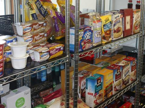 The Huskers Helping Huskers Pantry+ has full shelves thanks to donations from residence hall students.