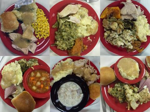 Plates from University of Nebraska-Lincoln students enjoying Thanksgiving in the dining halls